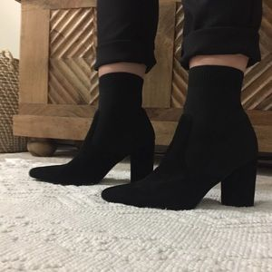 NEW Steve Madden Remy suede black sock boot heels